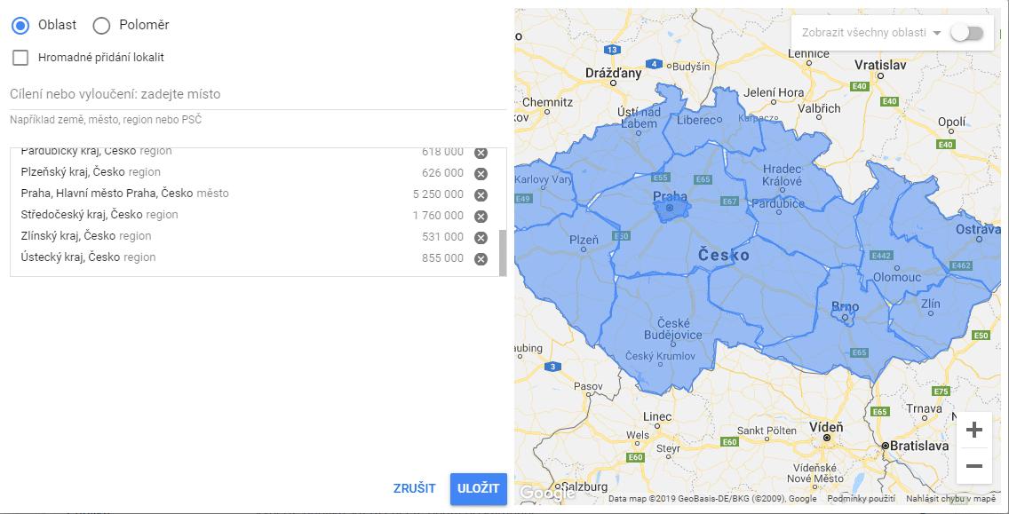 Google Ads cílení podle destinace