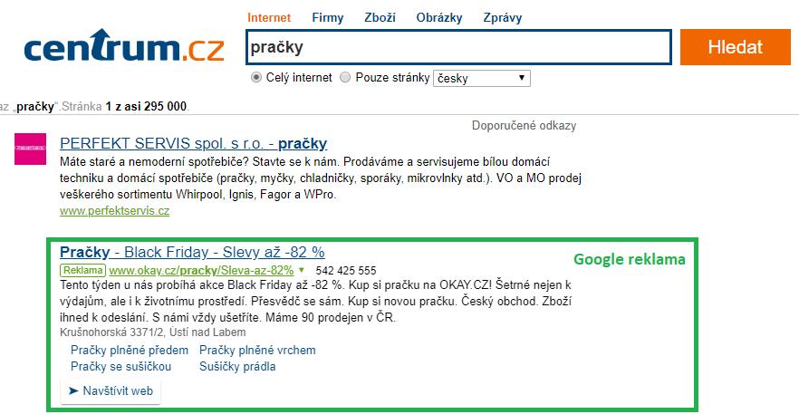 Google Ads vyhledávací síť