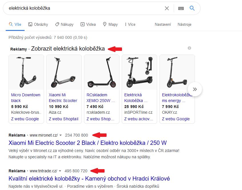 elektrická koloběžka ppc reklama google