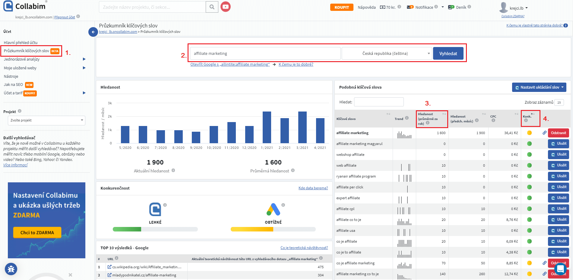 Jak hledat klíčová slova v Collabimu (SEO tool)