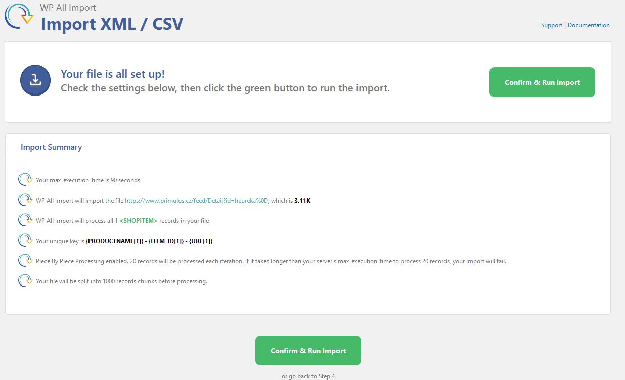 WP All Import - Import XML- CSV - potvrzení importu dat (produktů) z feedu