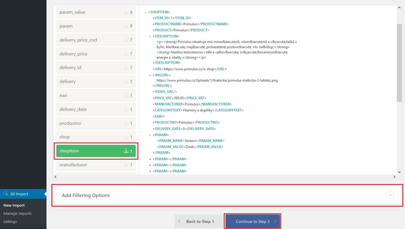 WP all import - shopitem (obsahuje informace o produktu)