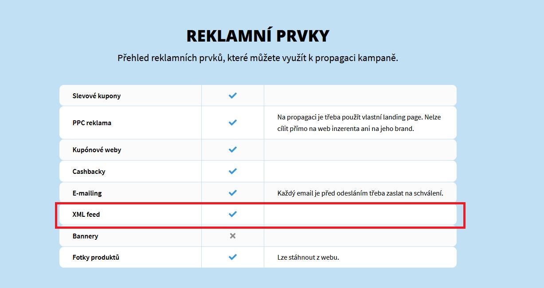 XML feed u affiliate kampaní